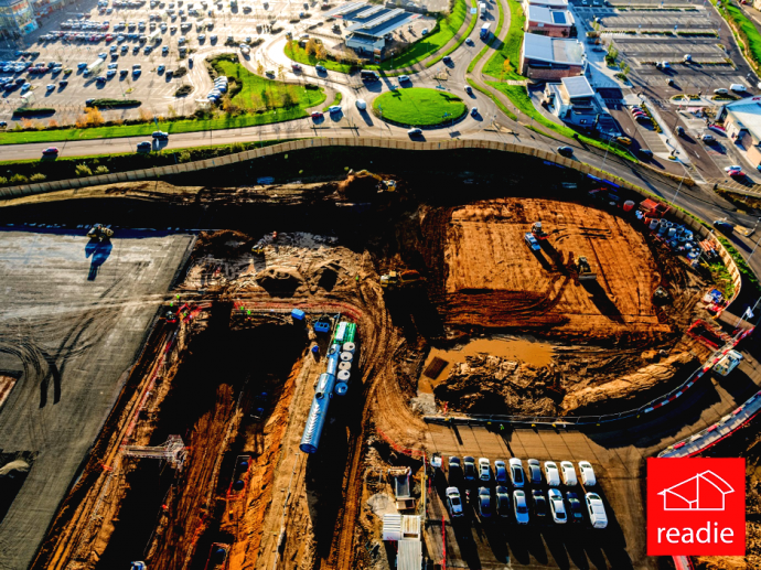 Drone photographs of Stane Retail Park under construction.